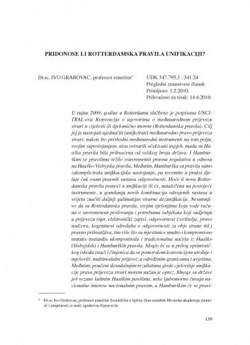 Pridonose li Rotterdamska pravila unifikaciji? : Poredbeno pomorsko pravo