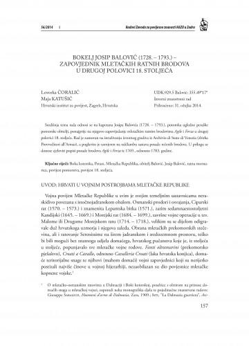Bokelj Josip Balović (1728.-1793.) - zapovjednik mletačkih ratnih brodova u drugoj polovici 18. stoljeća : Radovi Zavoda za povijesne znanosti HAZU u Zadru