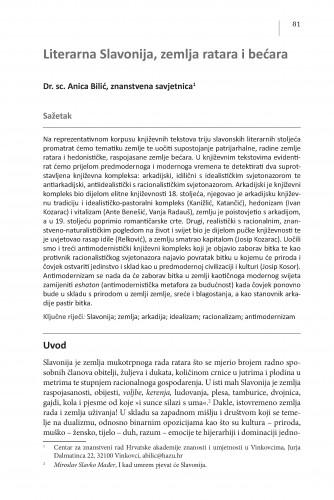 Literarna Slavonija, zemlja ratara i bećara : Posebna izdanja / Hrvatska akademija znanosti i umjetnosti, Centar za znanstveni rad u Vinkovcima