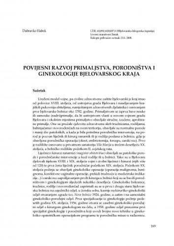 Povijesni razvoj primaljstva, porodništva i ginekologije bjelovarskog kraja : Radovi Zavoda za znanstvenoistraživački i umjetnički rad u Bjelovaru