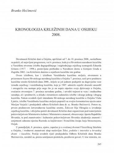 Kronologija Krležinih dana u Osijeku 2008. : [prilog] : Krležini dani u Osijeku