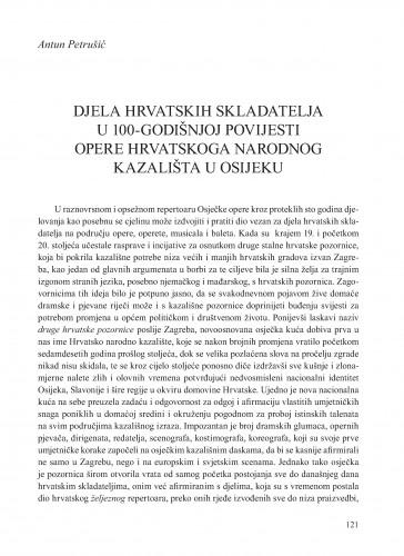 Djela hrvatskih skladatelja u 100-godišnjoj povijesti Opere Hrvatskoga narodnog kazališta u Osijeku : Krležini dani u Osijeku