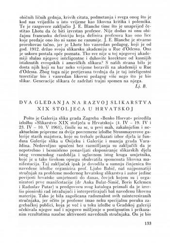 Dva gledanja na razvoj slikarstva u Hrvatskoj u XIX. st. : Bulletin Zavoda za likovne umjetnosti Jugoslavenske akademije znanosti i umjetnosti