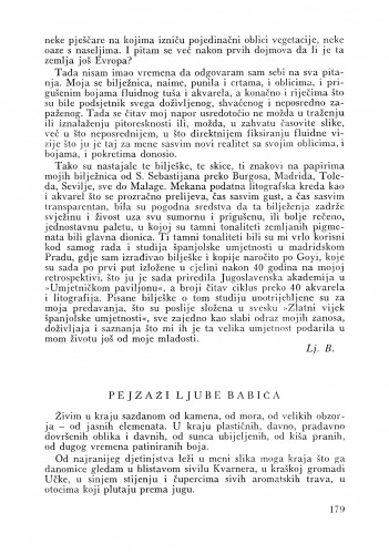 Pejzaži Ljube Babića : Bulletin Odjela VII. za likovne umjetnosti Jugoslavenske akademije znanosti i umjetnosti