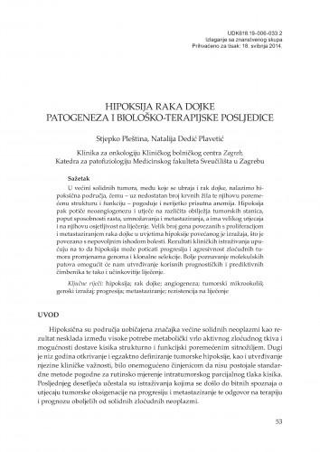 Hipoksija raka dojke - patogeneza i biološko-terapijske posljedice