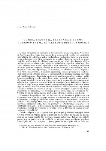 Odjela likova na freskama u Bermu u odnosu prema istarskoj narodnoj nošnji : Bulletin Razreda za likovne umjetnosti Jugoslavenske akademije znanosti i umjetnosti