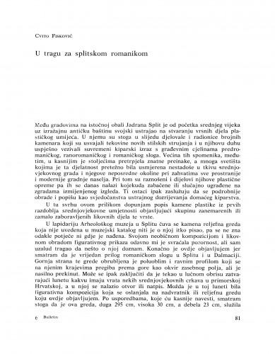 U tragu za splitskom romanikom : Bulletin Razreda za likovne umjetnosti Jugoslavenske akademije znanosti i umjetnosti