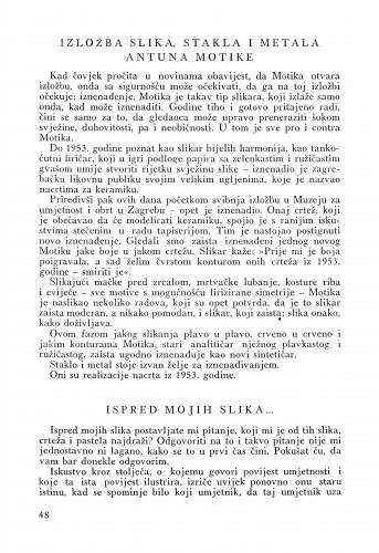 Izložba slika, stakla i metala Antuna Motike / Matko Peić. Ispred mojih slika / Ljubo Babić : Bulletin Instituta za likovne umjetnosti Jugoslavenske akademije znanosti i umjetnosti