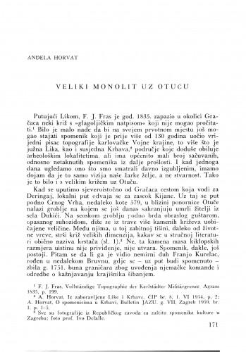 Veliki monolit uz Otuču : Bulletin Zavoda za likovne umjetnosti Jugoslavenske akademije znanosti i umjetnosti