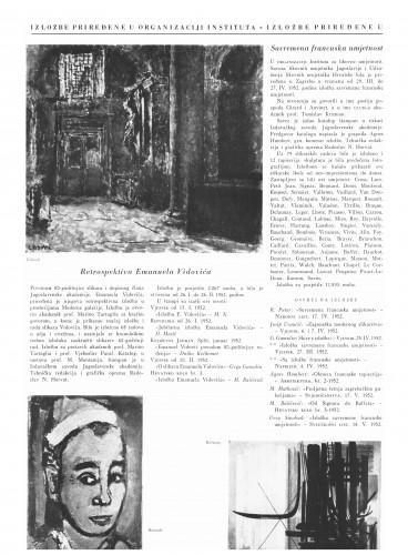 Izložbe priređene u organizaciji Instituta : Bulletin Instituta za likovne umjetnosti Jugoslavenske akademije znanosti i umjetnosti