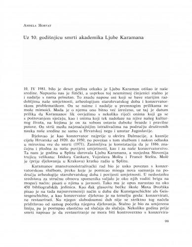 Uz 10. godišnjicu smrti akademika Ljube Karamana : Bulletin Razreda za likovne umjetnosti Jugoslavenske akademije znanosti i umjetnosti