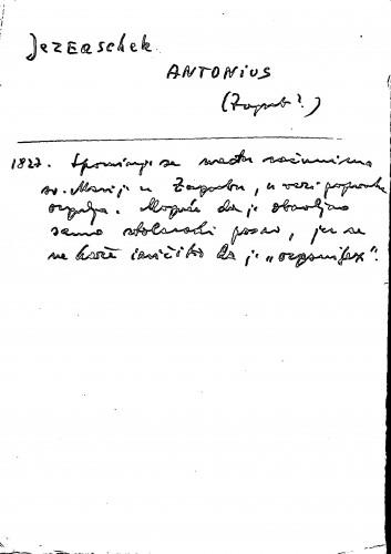 Jezeaschek Antonius Zagreb?