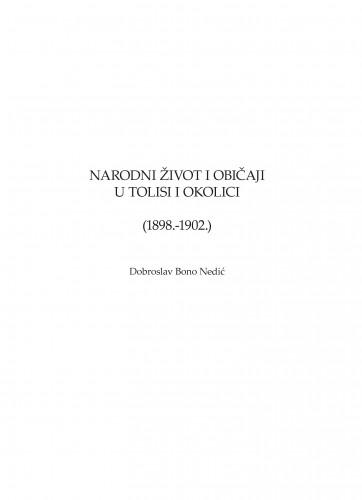 Narodni život i običaji u Tolisi i okolici (1898.-1902.) : Zbornik za narodni život i običaje