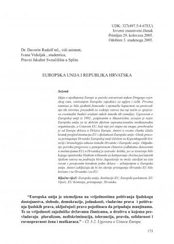 Europska unija i Republika Hrvatska : Adrias : zbornik Zavoda za znanstveni i umjetnički rad Hrvatske akademije znanosti i umjetnosti u Splitu