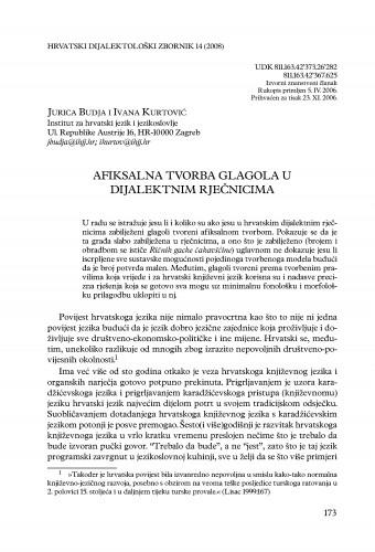 Afiksalna tvorba glagola u dijalektnim rječnicima / Jurica Budja i Ivana Kurtović