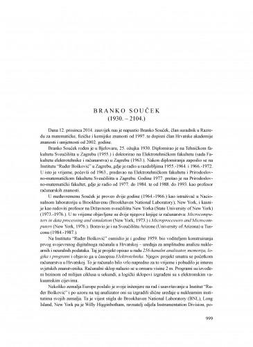 Branko Souček (1930.-2014.) : [nekrolog] : Ljetopis