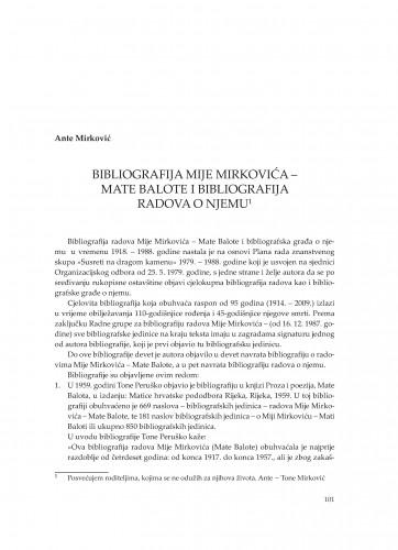 Bibliografija Mije Mirkovića - Mate Balote i bibliografija radova o njemu