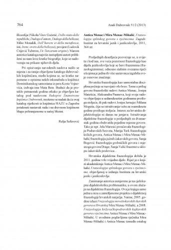 Antica Menac i Mira Menac-Mihalić, Frazeologija splitskog govora s rječnicima. Zagreb: Institut za hrvatski jezik i jezikoslovlje, 2011 : [prikaz] / Marijana Tomelić Ćurlin
