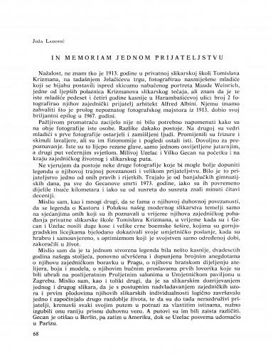 In memoriam jednom prijateljstvu : Bulletin Razreda za likovne umjetnosti Jugoslavenske akademije znanosti i umjetnosti