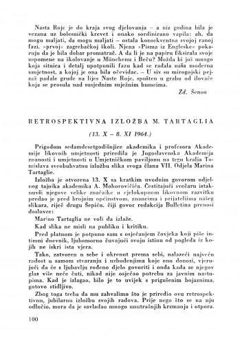 Retrospektivna izložba M. Tartaglia : Bulletin Zavoda za likovne umjetnosti Jugoslavenske akademije znanosti i umjetnosti