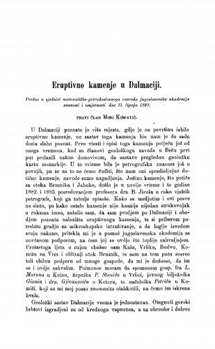 Eruptivno kamenje u Dalmaciji