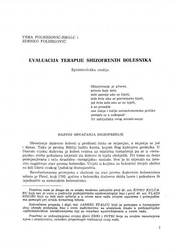 Evaluacija terapije shizofrenih bolesnika