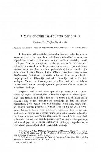 O Mathieuovim funkcijama perioda