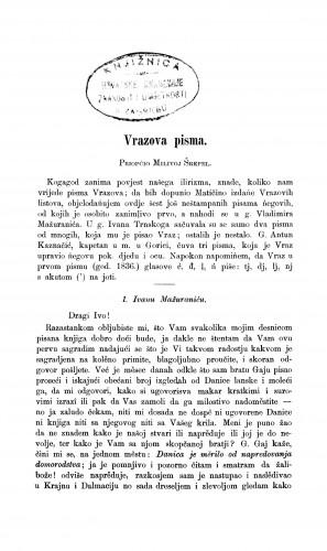 Vrazova pisma : Građa za povijest književnosti hrvatske