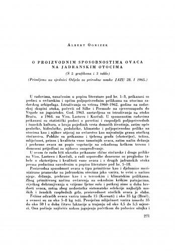O proizvodnim sposobnostima ovaca na Jadranskim otocima
