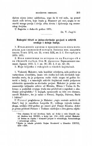 Rukopisi tičući se južno-slovinske povjesti u arkivih srednje i donje Italije : [književna obznana] : RAD