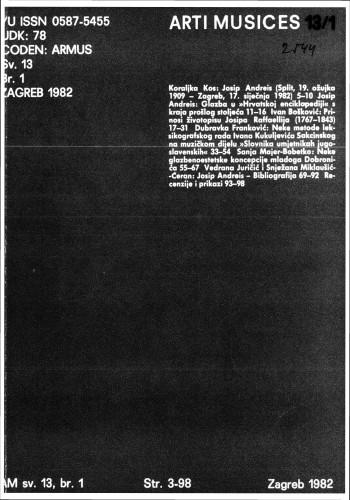 God. 13(1982), br. 1 : Arti musices