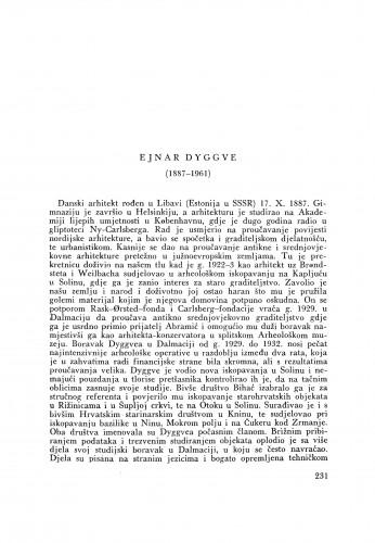 Ejnar Dyggve (1887-1961) : [nekrolog] / S. Gunjača