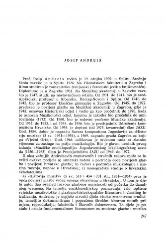 Josip Andreis : [biografije novih članova Akademije]