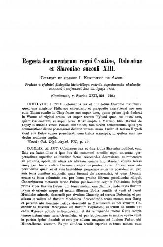 Regesta documentorum regni Croatiae, Dalmatiae et Slavoniae saeculi XIII : Starine