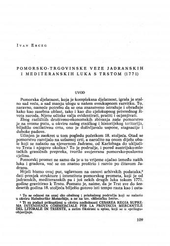 Pomorsko-trgovinske veze jadranskih i mediteranskih luka s Trstom (1771) / Ivan Erceg