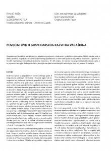 Povijesni uvjeti gospodarskog razvitka Varaždina