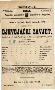 Djevojački zavjet Vesela igra u 5 činah / S poljskoga od Aleksandra grofa Fredra, preveo J. E. Tomić