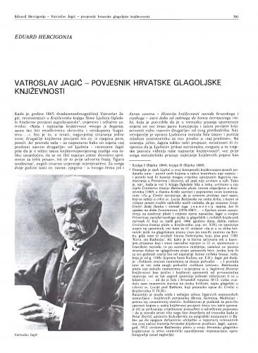 Vatroslav Jagić - povjesnik hrvatske glagoljske književnosti