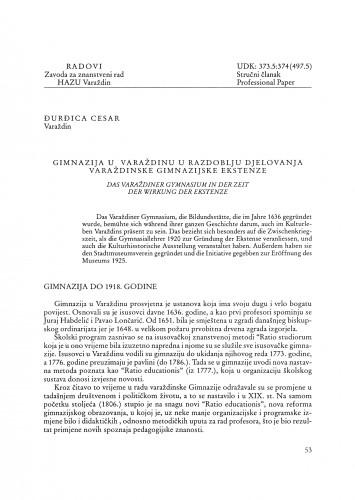 Varaždinska gimnazija u razdoblju djelovanja varaždinske gimnazijske ekstenze : Radovi Zavoda za znanstveni rad Varaždin