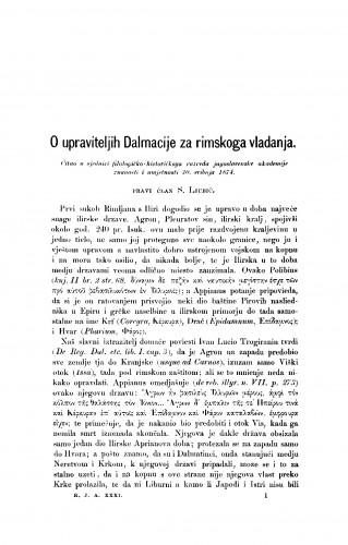O upraviteljih Dalmacije za rimskoga vladanja : RAD