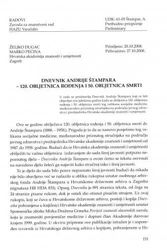 Dnevnik Andrije Štampara - 120. obljetnica rođenja i 50. obljetnica smrti : Radovi Zavoda za znanstveni rad Varaždin