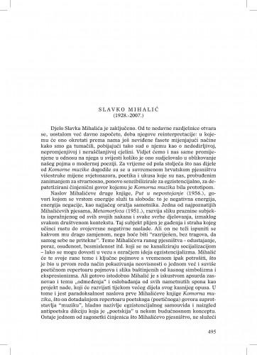Slavko Mihalić (1928.-2007.) : [nekrolog] : Ljetopis