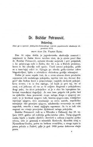 Dr. Božidar Petranović : nekrolog : RAD
