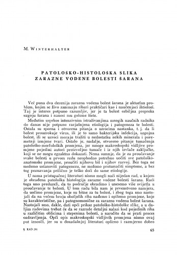 Patološko-histološka slika zarazne vodene bolesti šarana