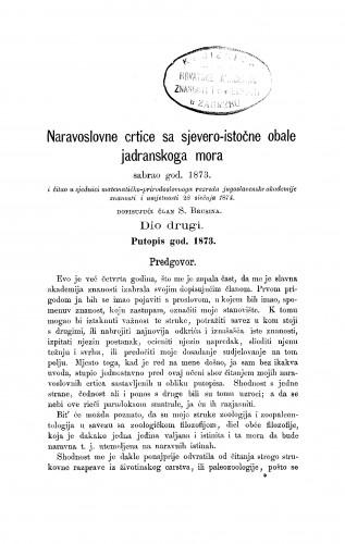 Naravoslovne crtice sa sjevero-istočne obale Jadranskog mora sabrao god. 1873. : RAD