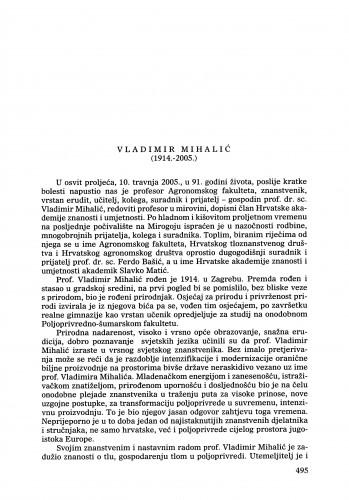 Vladimir Mihalić (1914.-2005.) : [nekrolog] : Ljetopis