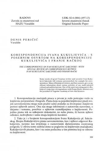Korespondencija Ivana Kukuljevića - s posebnim osvrtom na korespondenciju Kukuljevića i Franje Račkog : Radovi Zavoda za znanstveni rad Varaždin