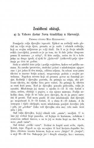 Iz Vrbove (kotar Nova Gradiška) u Slavoniji : ženidbeni običaji / M. Kurjaković