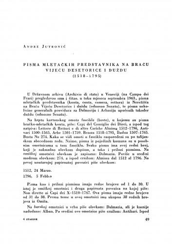 Pisma mletačkih predstavnika na Braču Vijeću desetorice i duždu (1518-1795) / Andre Jutronić