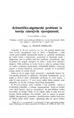 Aritmetičko-algebarski problemi iz teorije izbrojivih vjerojatzglavka
